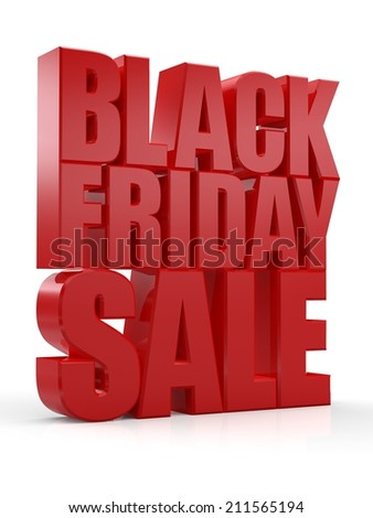 3D Black Friday Sale text on white background - stock photo