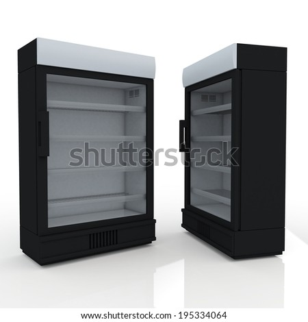 3D black fridge for drink products or beverage in isolated background with work paths, clipping paths included - stock photo