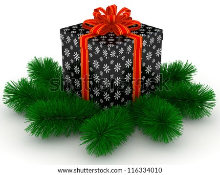 3D black Gift christmas box with red bow and sprigs of christmas tree on the white - stock photo