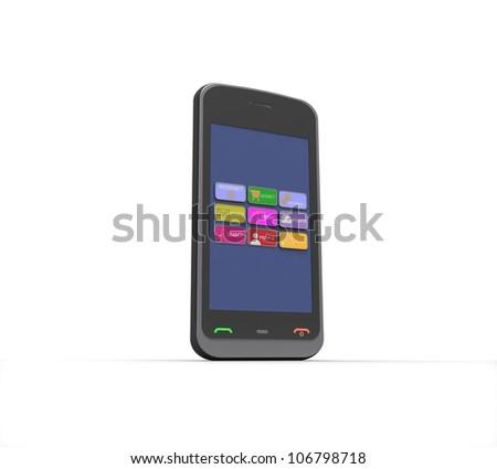 3d Black mobile phone on white background - stock photo