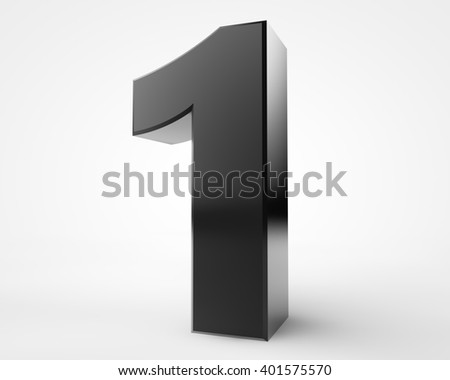 3d black number 1 collection on white background illustration 3D rendering - stock photo