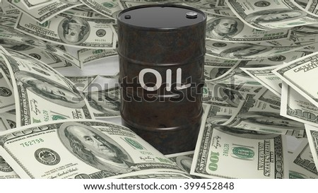 3D black oil drum set on dollar banknotes pile, 3d rendering