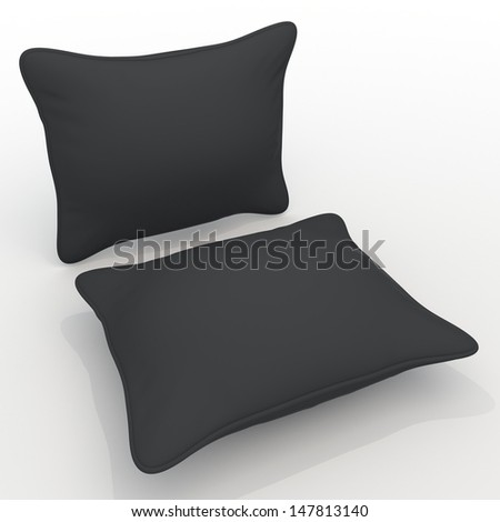 3d black pillows, cushions blank template in isolated with clipping paths, work paths included
