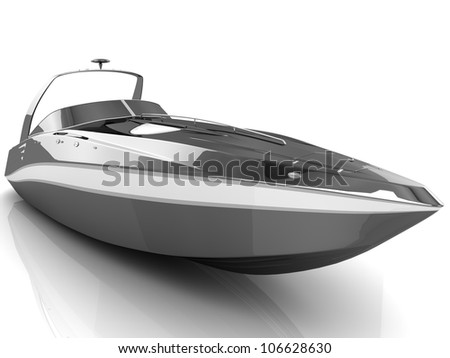 3D black speedboat isolated on a white background - stock photo