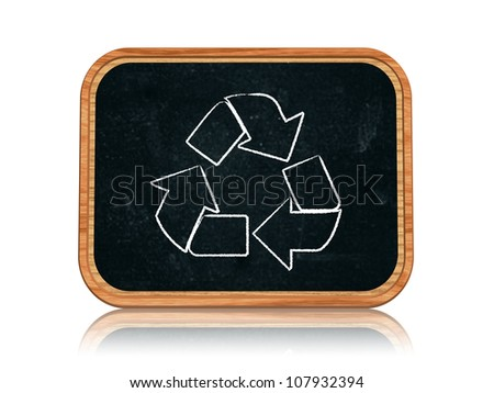 3d blackboard banner with chalk recycle sign