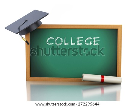 3d blackboard with diploma certificate and graduation cap. Isolated white background. 3d renderer illustration.  - stock photo