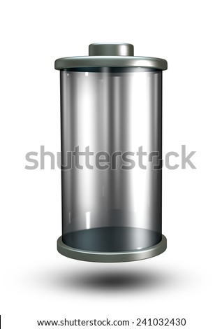 3D Blank Battery icon Power energy, empty transparency object isolated - stock photo