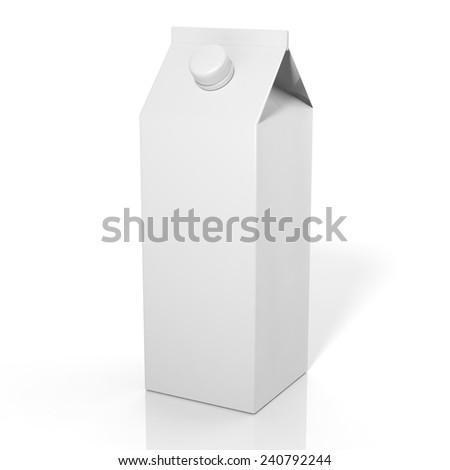 3D blank beverage box mockup isolated on white - stock photo