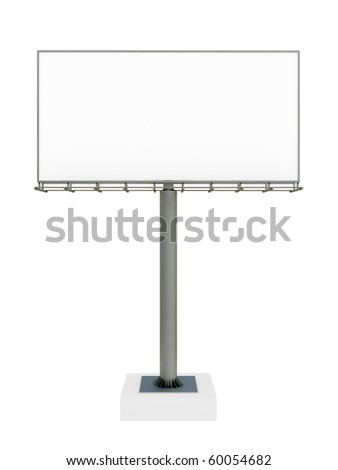 3d blank billboard on white background