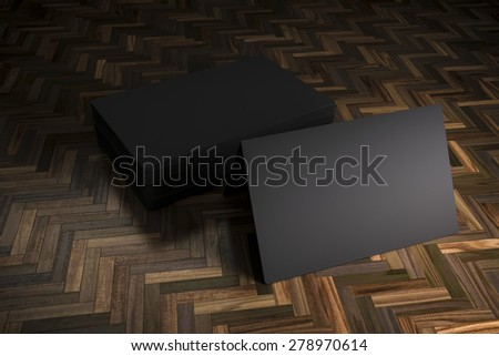 3d blank black business cards - stock photo