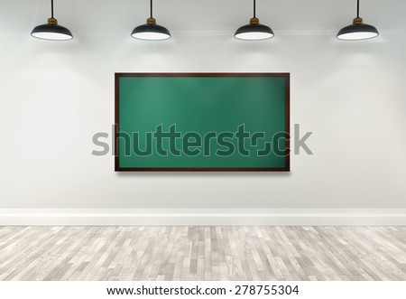 3d blank blackboard on classroom with ceiling lamp - stock photo