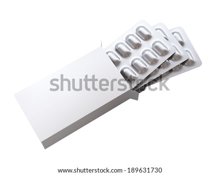 3d blank box with pills in blister on white background - stock photo