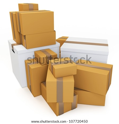 3d blank carton boxes on white background - stock photo