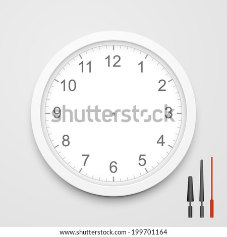 3d blank clock face with hour, minute and second hands isolated on white background - stock photo