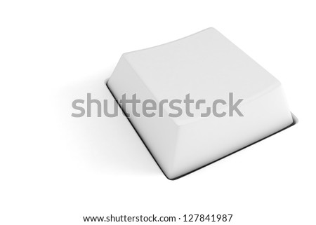 3d blank computer key on white background