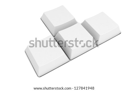 3d blank computer keys on white background