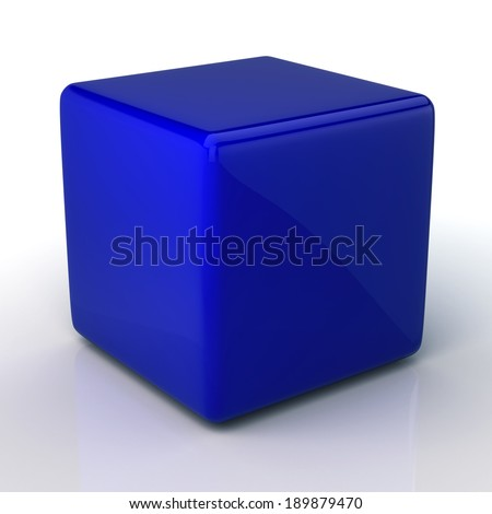 3D blank dark blue cube and reflection in isolated background with work paths, clipping paths included