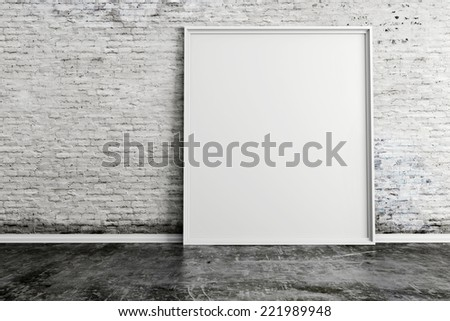 3d blank frame and vintage brick wall - stock photo