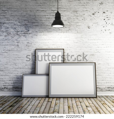 3d blank frame s and vintage brick wall - stock photo