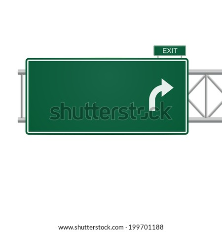 3d blank highway sign isolated on white - stock photo