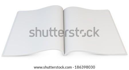 3d blank open magazine on white background  - stock photo