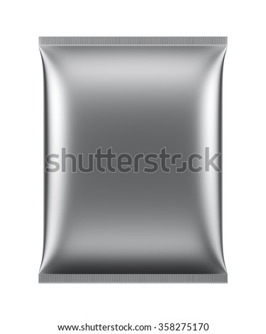 3D Blank Package Silver design big bag pillow pillow, object isolated die cut - stock photo