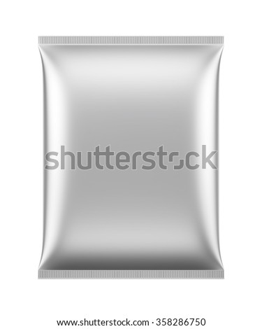 3D Blank Package White color design big bag pillow pillow, object isolated die cut - stock photo