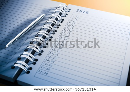 3d blank personal agenda close up - stock photo