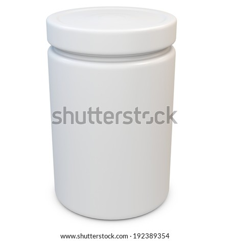 3d blank plastic container on white background