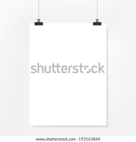 3d blank poster paper on white background - stock photo