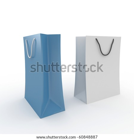 3d blank present bags isolated on white