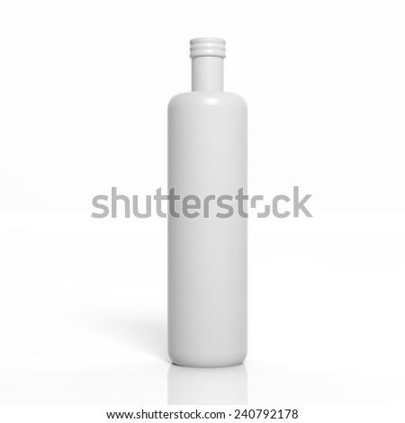 3D blank product bottle mockup isolated on white - stock photo
