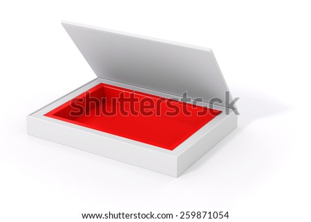 3d blank product package box, on white - stock photo