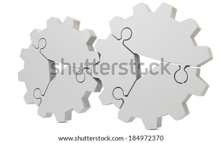 3d blank puzzle gear on a white background  - stock photo