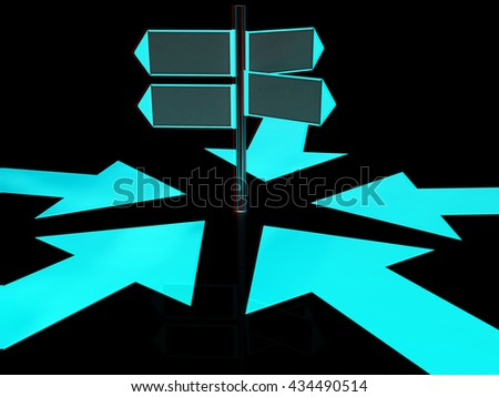 3D blank road sign and arrows way on a black background. 3D illustration. Anaglyph. View with red/cyan glasses to see in 3D. - stock photo