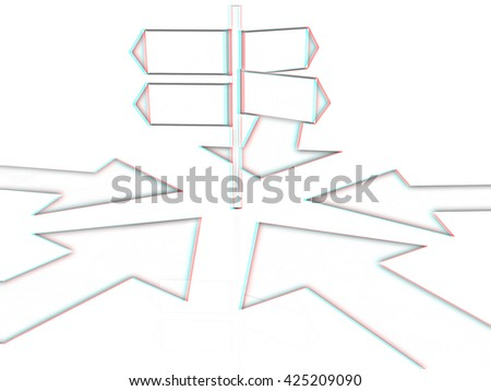 3D blank road sign and arrows way on a white background. Pencil drawing. 3D illustration. Anaglyph. View with red/cyan glasses to see in 3D. - stock photo