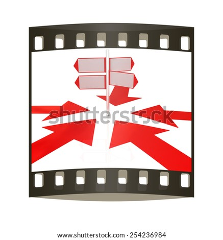 3D blank road sign and arrows way on a white background. The film strip - stock photo