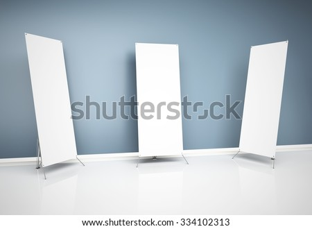 3d blank roll-up banners near wall