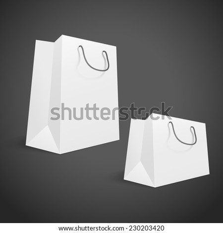 3d blank shopping bags isolated on black background
