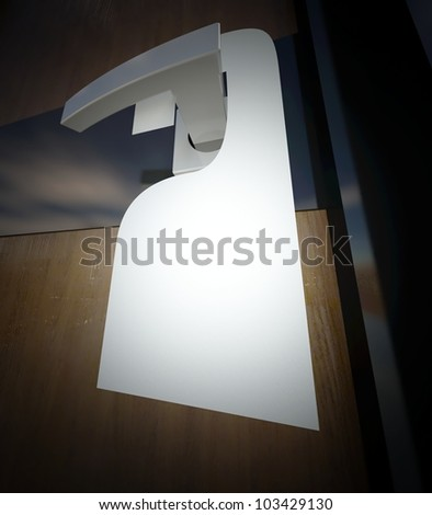 3d blank sign on the door handle - stock photo