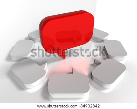 3d blank speech bubble - Red