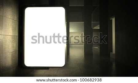 3d blank street advertising billboard on wall at night - stock photo