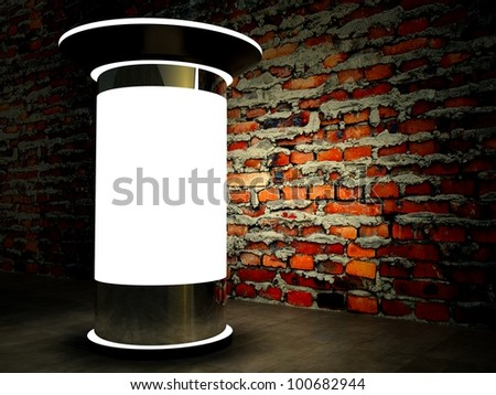 3d blank street advertising column on brick wall at night - stock photo