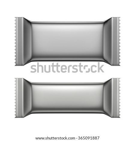3D Blank Sweet Snack packing silver color design for wrappers set of two, object isolated die cut