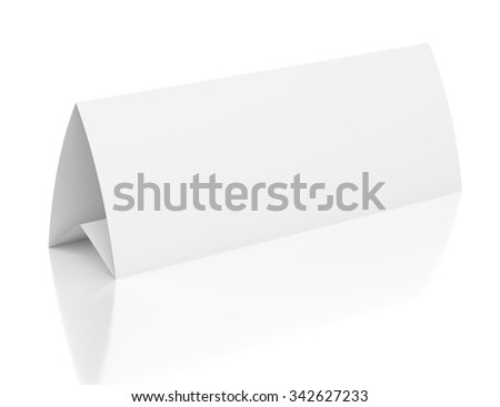 3d blank table paper card isolated on white background
