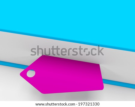 3d blank tag with inside the book - stock photo