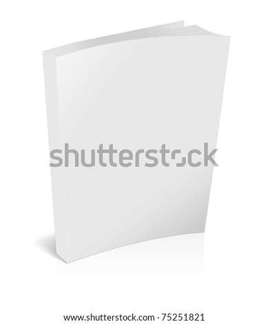 3d blank white brochure isolated on white - stock photo