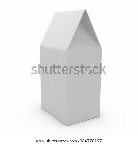 3D blank white paper packaging bag. Isolated on white background