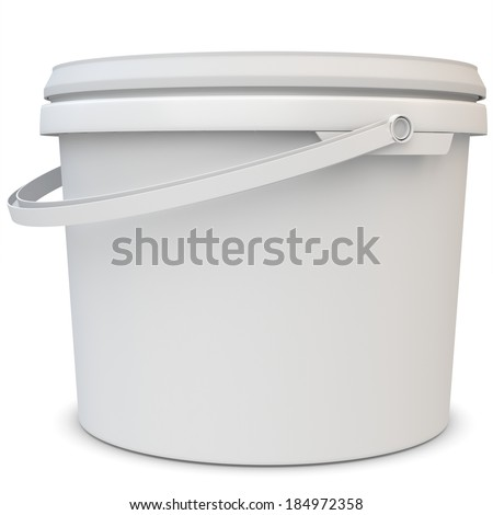 3d blank white tub paint plastic bucket container on white background - stock photo