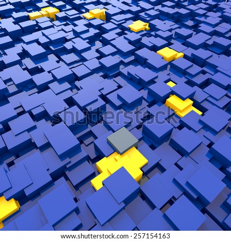 3D blocks abstract flag of the EU background